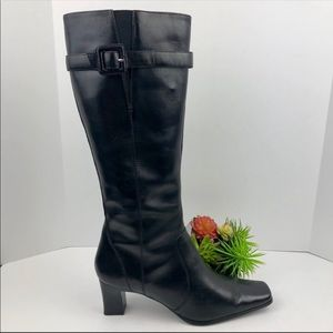 Anne Klein Black Leather Macrow Boots | 9.5